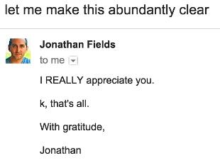 Jonathan Fields appreciates